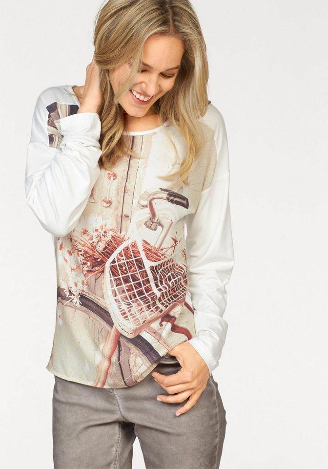 Corley Langarmshirt in trendigem Materialmix in wollweiß-rostbraun-ecru-weiß-bedruckt