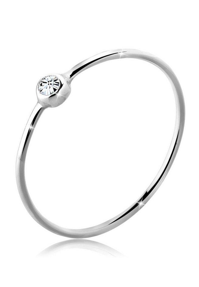 Elli Ring »Solitär Stapelring Swarovski® Kristall 925 Silber« in Weiß