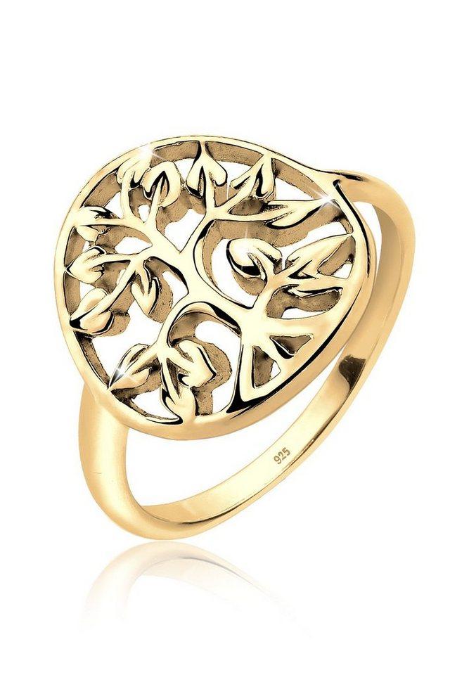 Elli Ring »Lebensbaum Floral Silber vergoldet« in Gold