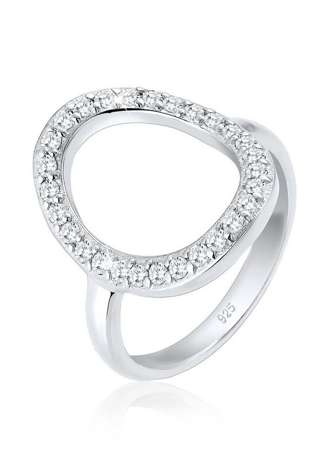 Elli Ring »Oval Kreis Zirkonia 925 Silber« in Weiß