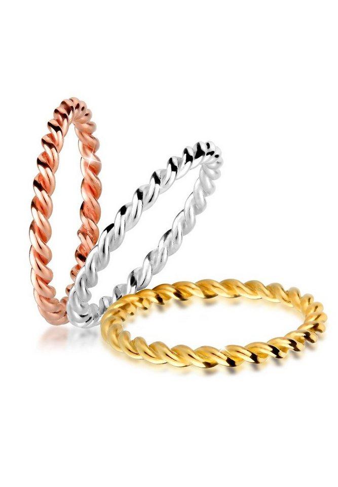 Elli Ring »Tricolor Set Gedreht 925 Silber vergoldet« in Silber