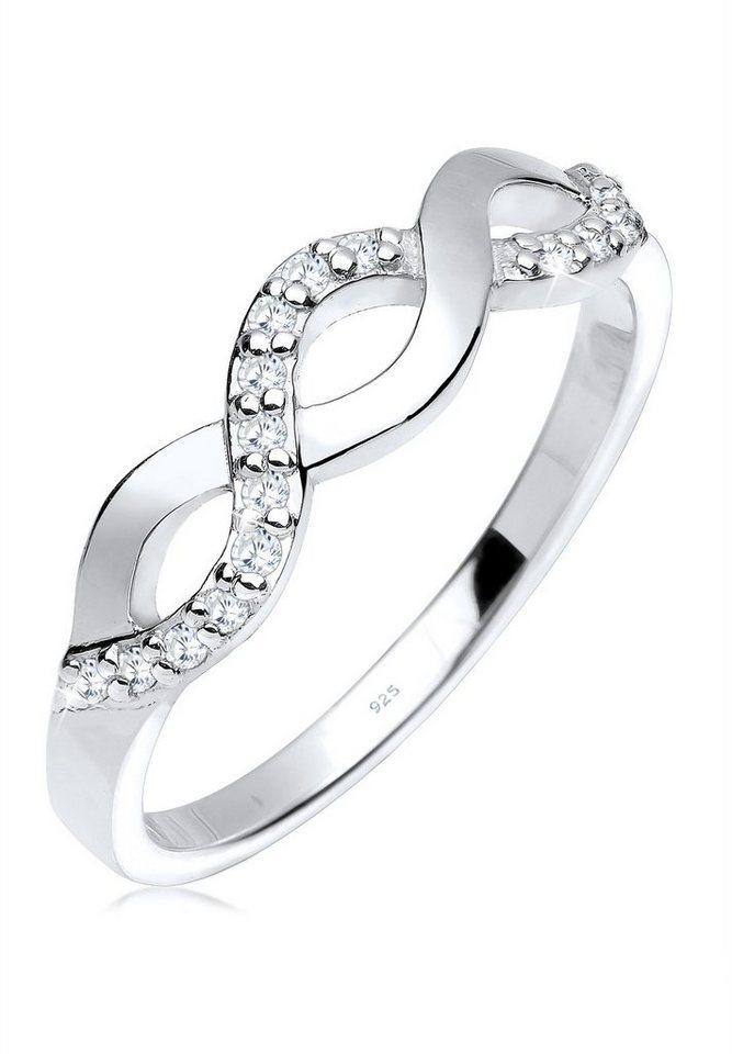 Elli Ring »Knoten Wellen Infinity Zirkonia 925 Silber« in Weiß