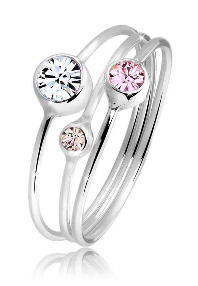 Elli Ring »Stapelring Set Swarovski® Kristalle 925 Silber« in Bunt