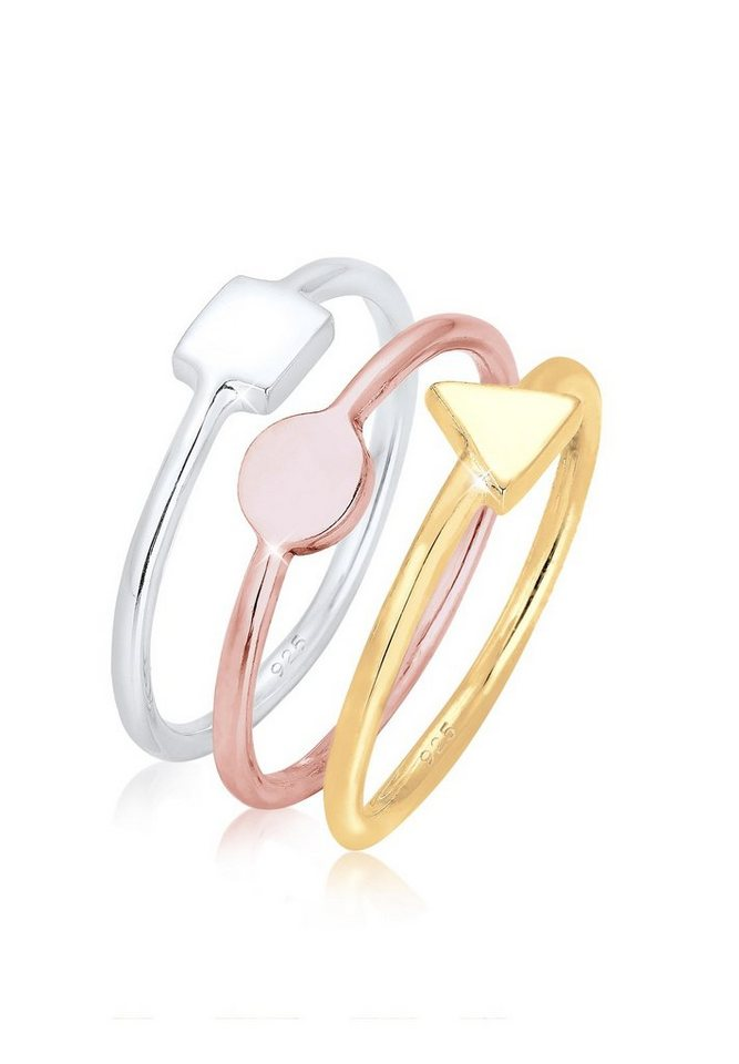 Elli Ring »3er Set Stacking Geo Tri-color Silber vergoldet« in Bunt