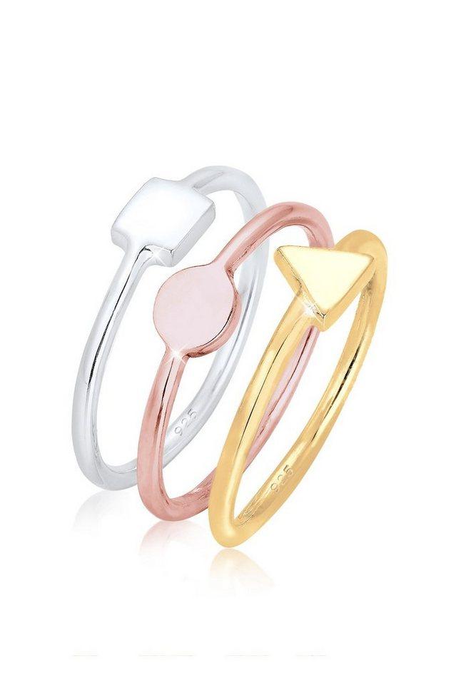 Elli Ring »3er Set Stacking Geo Tri-color Silber vergoldet« in Bunt