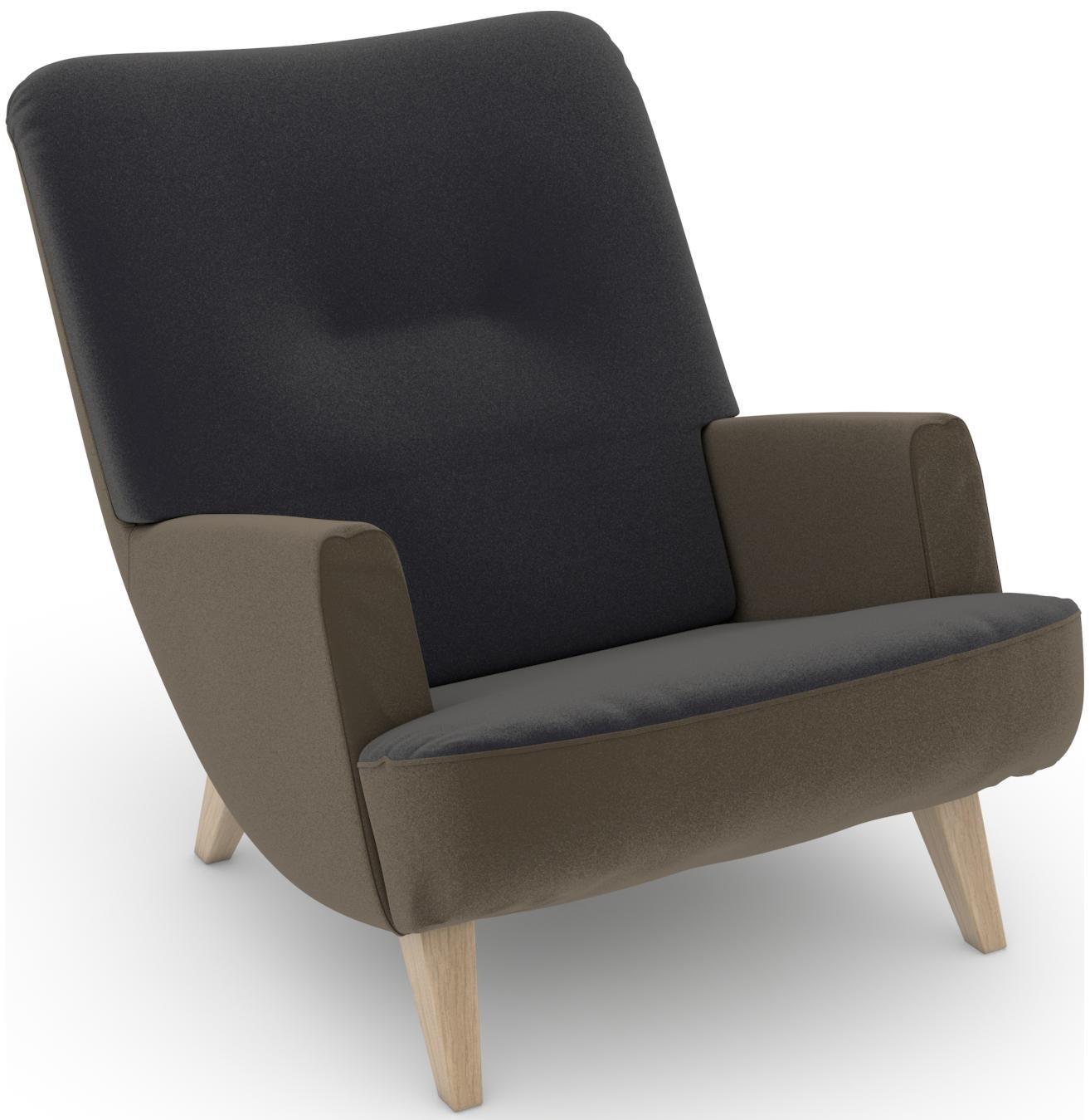 Max Winzer® build-a-chair Loungesessel »Borano« im Retrolook, zum Selbstgestalten   Wohnzimmer > Sessel > Loungesessel   Geblümt   Samtvelours - Nussbaum - Buche - Polyester   Max Winzer®