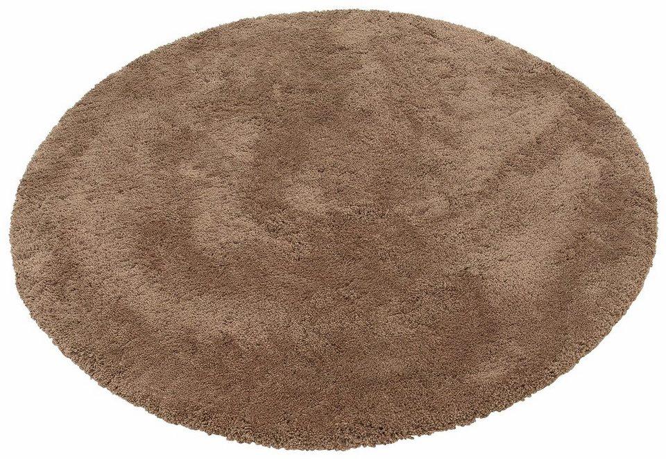 Hochflor-Teppich, rund, my home Selection, »Desner«, Höhe 38 mm, handgetuftet in braun