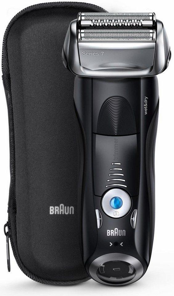 Braun Elektrorasierer Series 7 7840s, Wet & Dry, mit Reiseetui in schwarz
