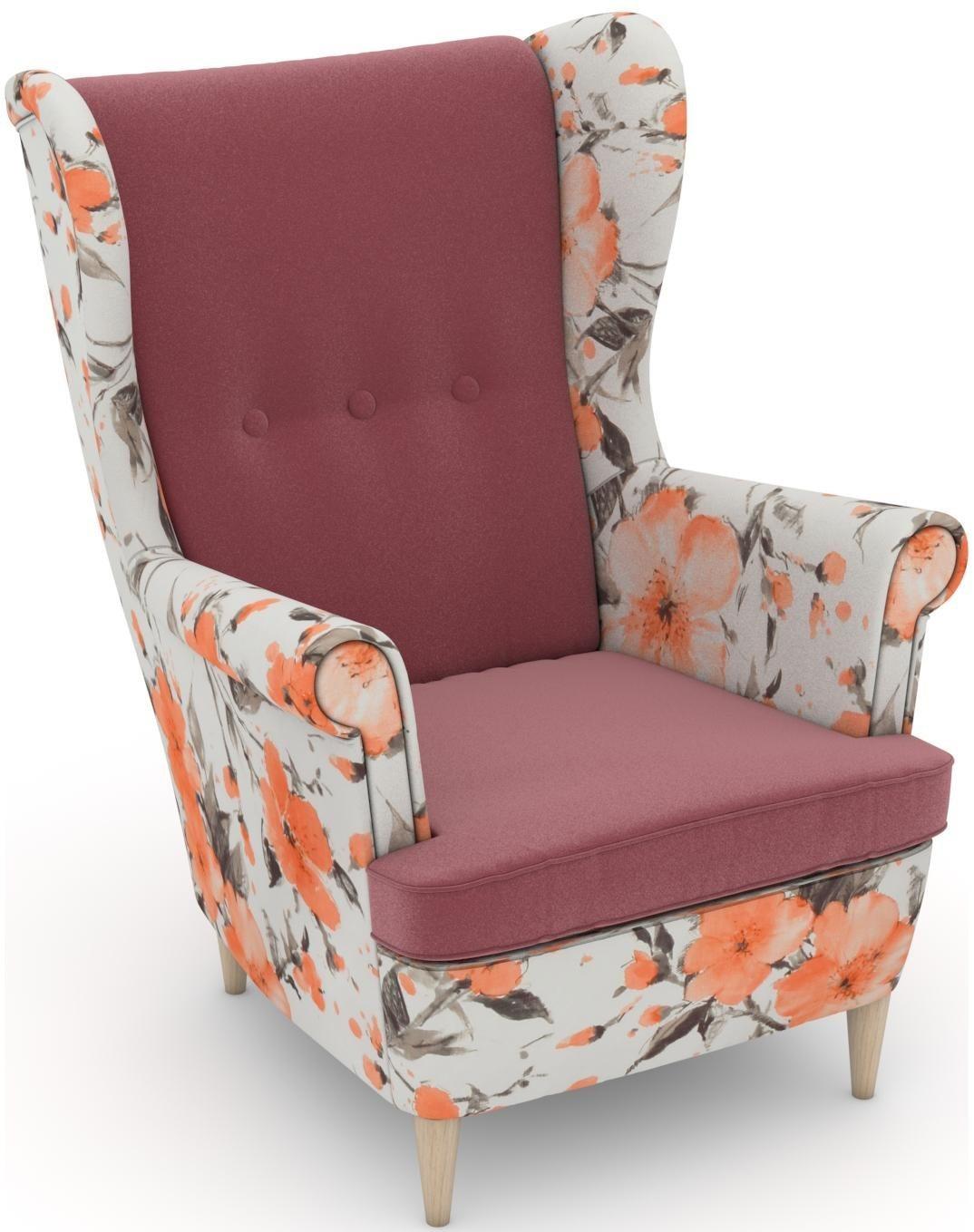 Max Winzer® build-a-chair Ohrensessel »Casimir« im Winchester-Look, zum Selbstgestalten | Wohnzimmer > Sessel > Ohrensessel | Geblümt | Samtvelours - Nussbaum - Buche - Polyester | Max Winzer®
