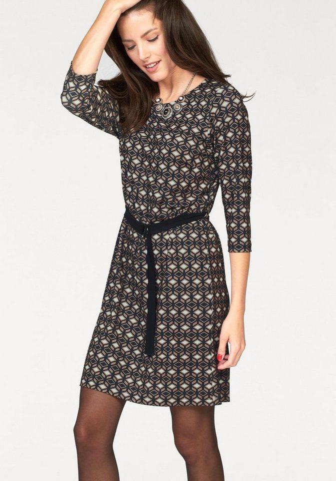 Vivance Jerseykleid mit 3/4-langen Ärmeln in schwarz-natur-weiß