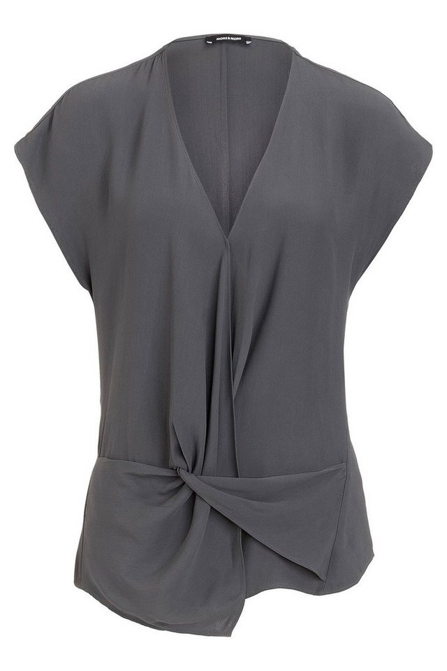 MORE&MORE Bluse, Knot-Detail in anthrazit