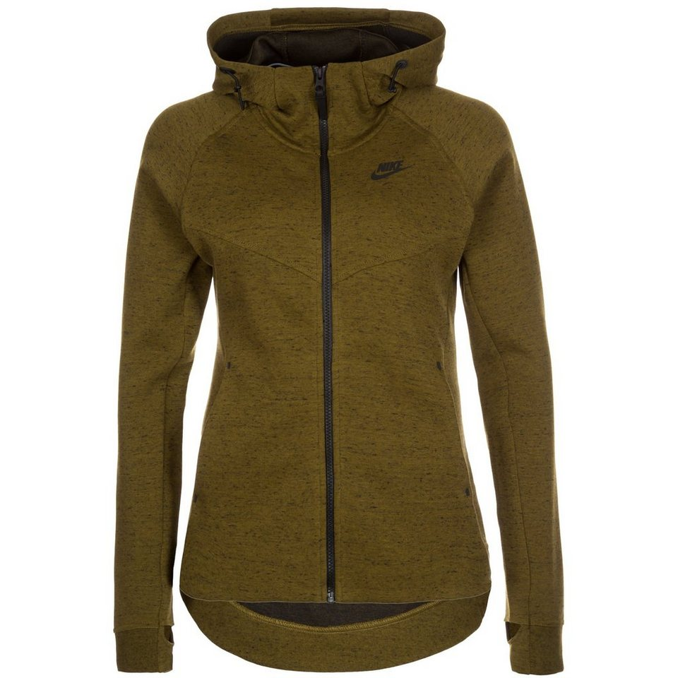 Nike Sportswear Tech Fleece Kapuzenjacke Damen in oliv / schwarz