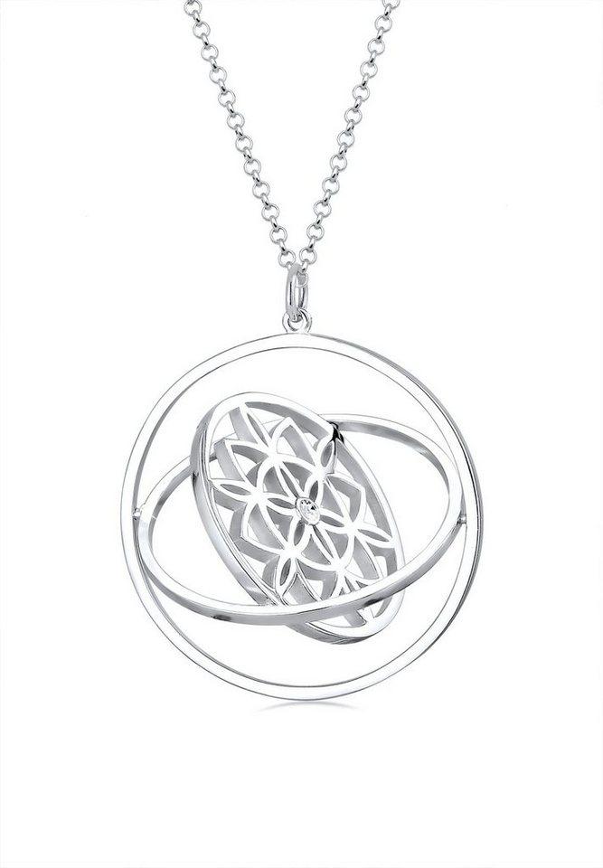 Elli Halskette »Ornament rotierend Swarovski® Kristalle 925 Silber« in Silber