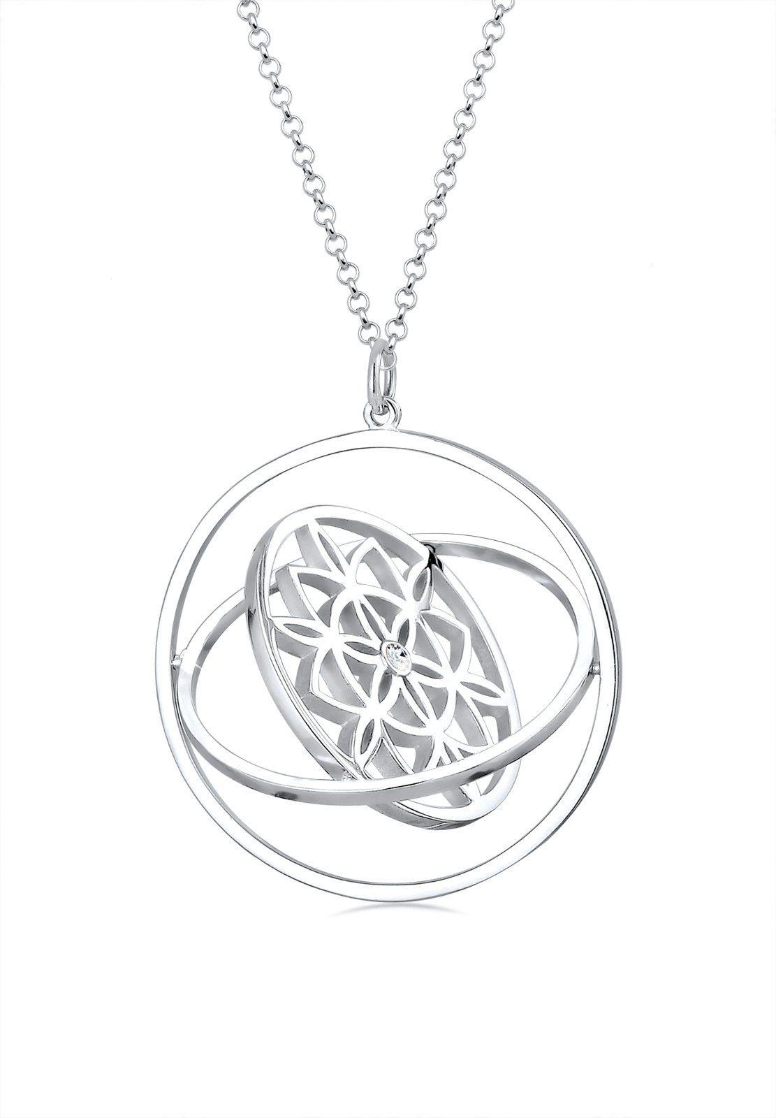 Elli Kette mit Anhänger »Ornament rotierend Swarovski® Kristalle 925 Silber«