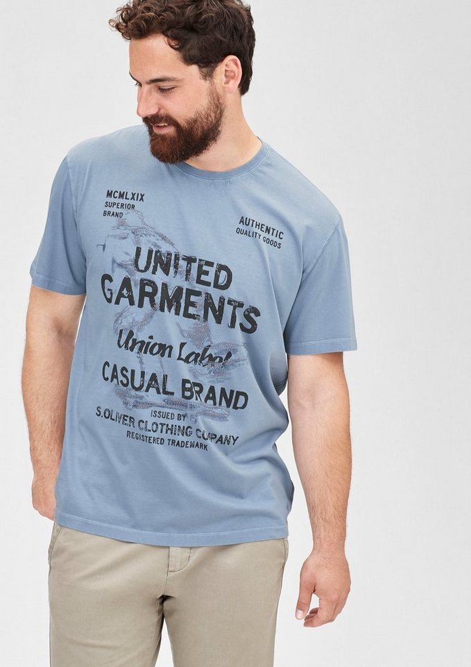 s.Oliver Besticktes Printshirt in ice blue