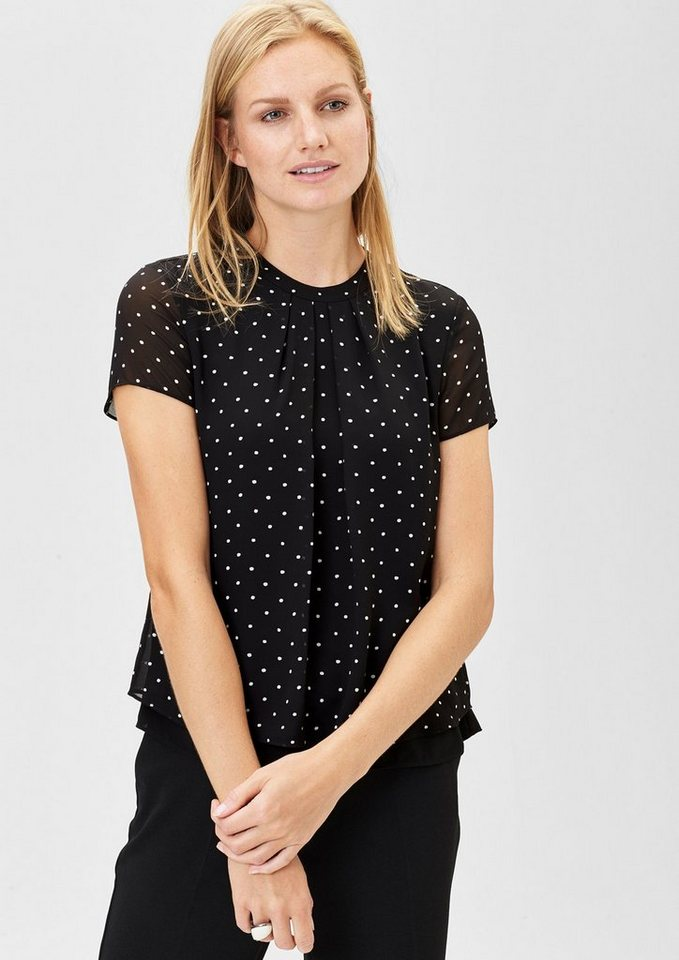 s.Oliver BLACK LABEL Double Layer-Chiffonbluse in grey/black floral pr