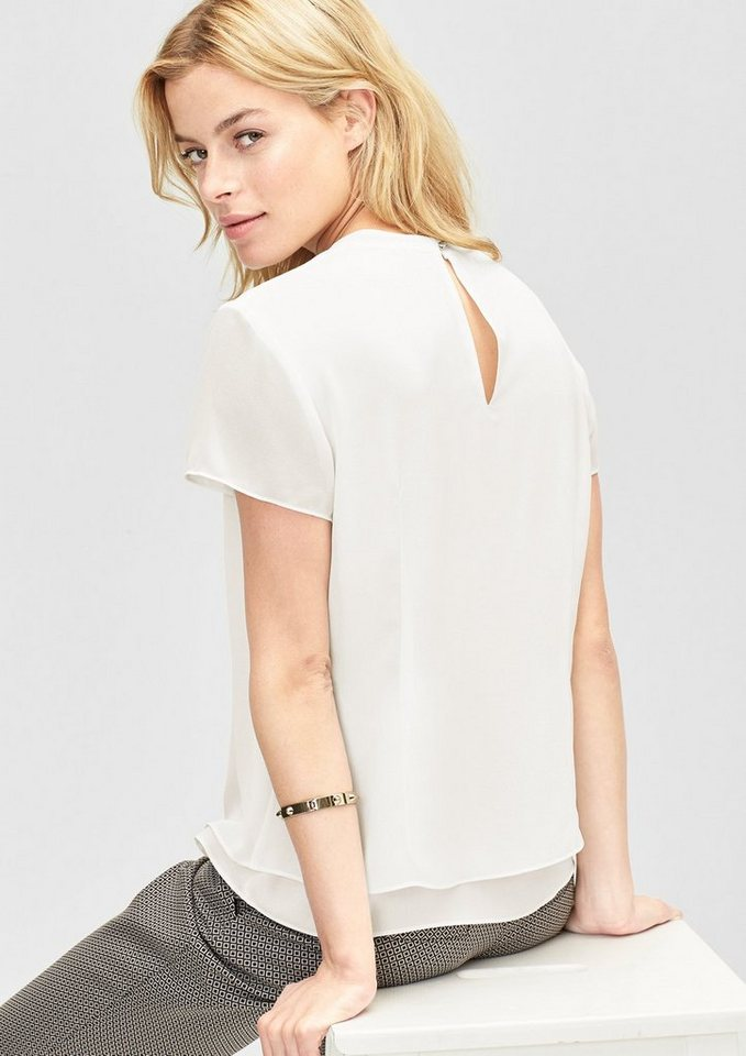s.Oliver BLACK LABEL Double Layer-Chiffonbluse in cream creme