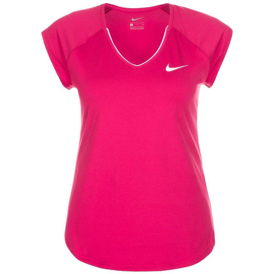 NIKE Pure Tennisshirt Damen in pink / weiß