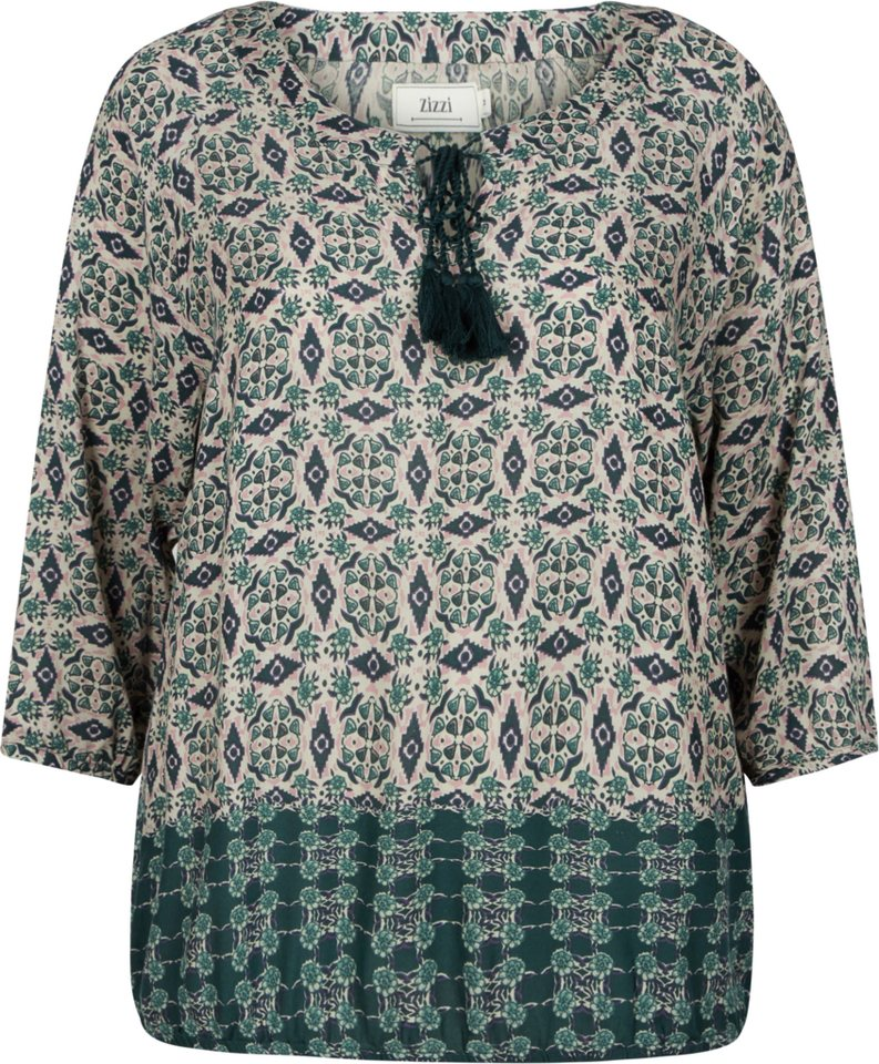 Zizzi Bluse in Green Gables Comb.