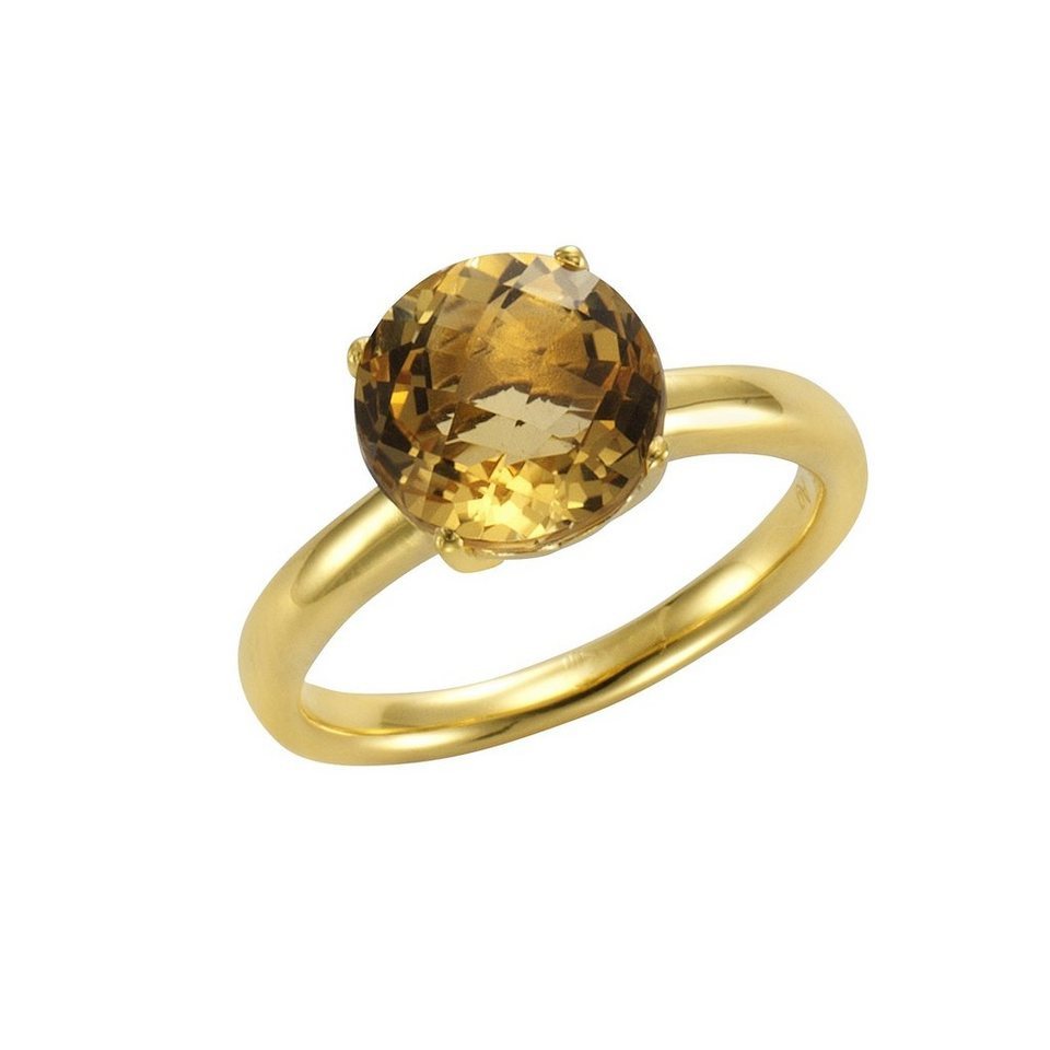 Jamelli Ring »925/- Sterling Silber vergoldet mit Citrin« in gelb