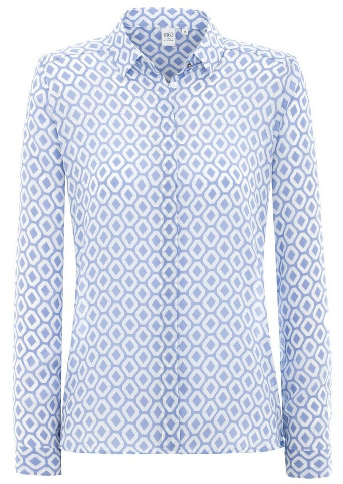 ETERNA 1/1-Arm Bluse MODERN FIT in blau/weiß