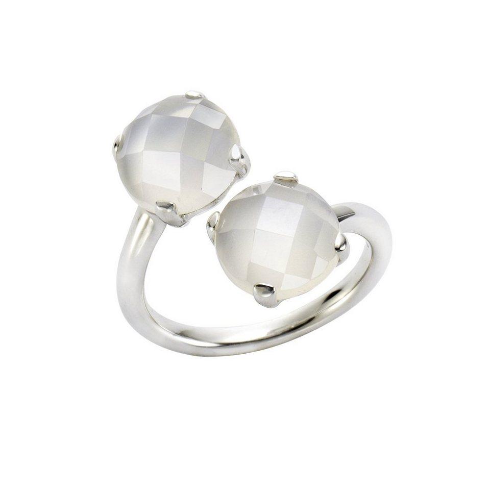 Jamelli Ring »925/- Sterling Silber rhodiniert mit Mondstein« in weiß