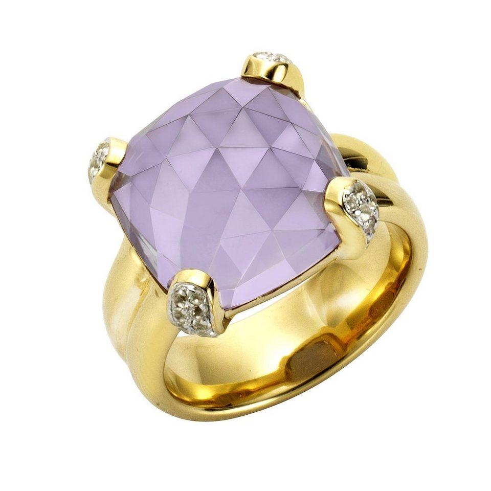 Jamelli Ring »925/- Sterling Silber vergoldet Quarz + Topas« in gelb