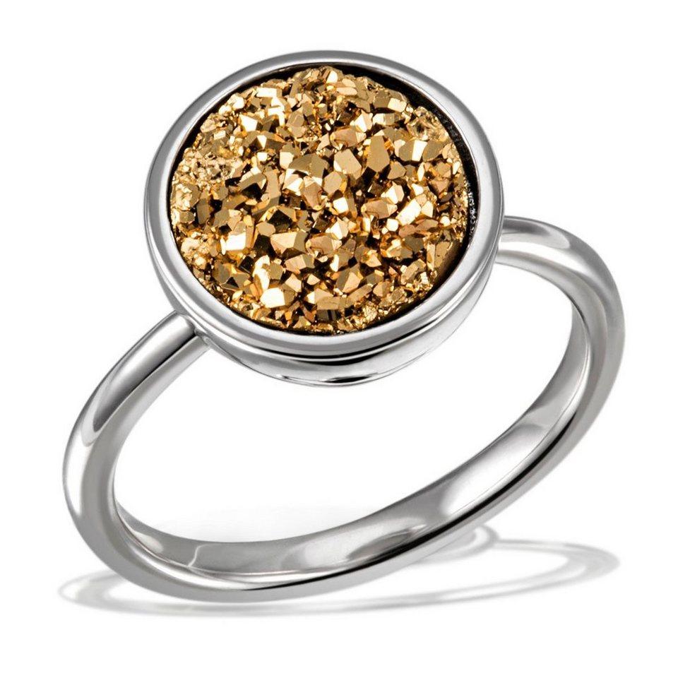 Averdin Damenring 925/- Sterlingsilber 1 gelbes Drusen Mineral in silberfarben