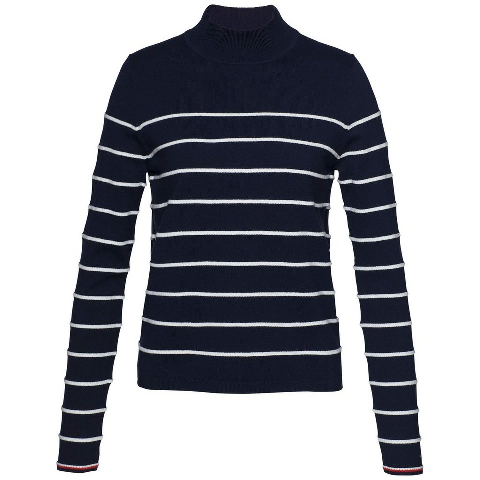 Tommy Hilfiger Pullover »IVY STP MOCK-NK SWTR« in NAVY/SNOW WHITE