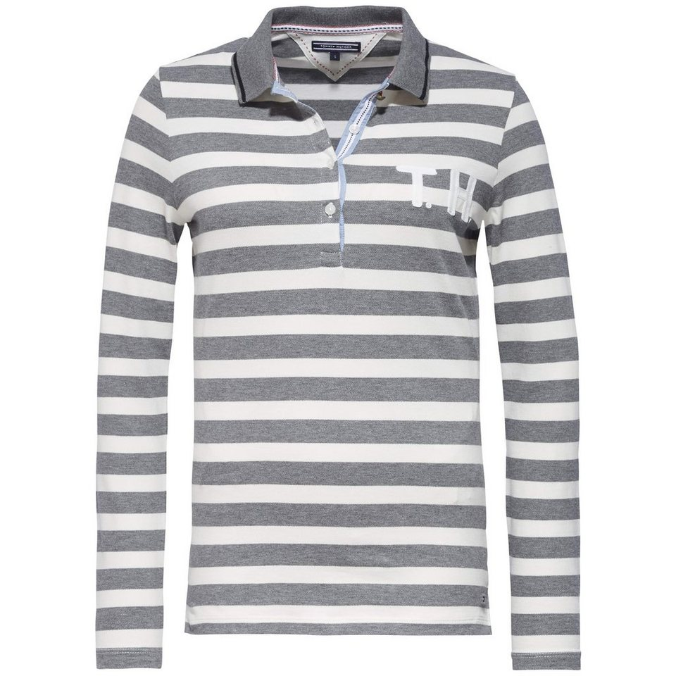 Tommy Hilfiger Poloshirt »OCALANDA STP POLO LS« in SNOW WHITE /GREY