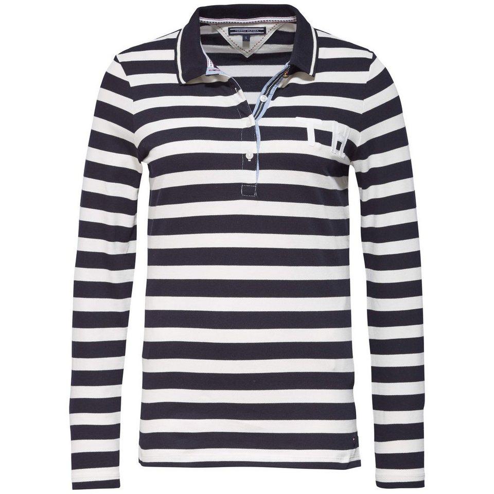Tommy Hilfiger Poloshirt »OCALANDA STP POLO LS« in SNOW WHITE / MIDNIGHT