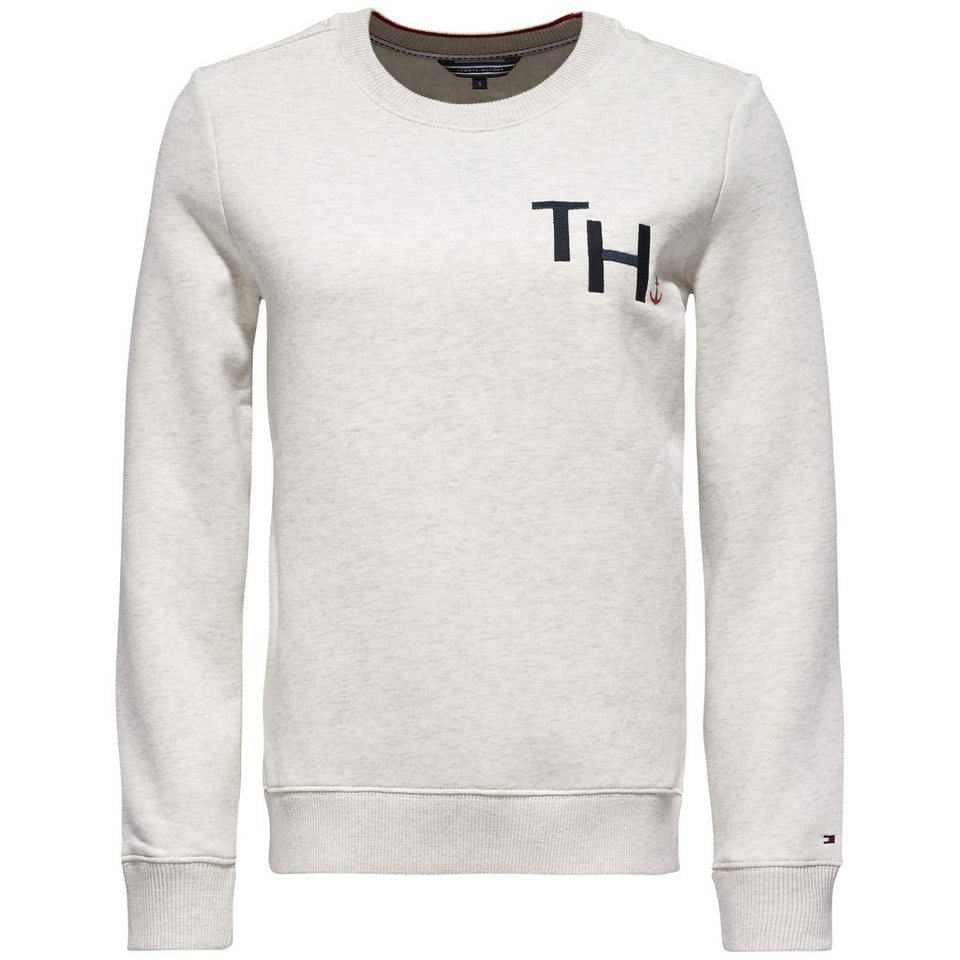Tommy Hilfiger Pullover »OLYMPIA C-NK SWEATSHIRT LS« in SNOW WHITE HTR