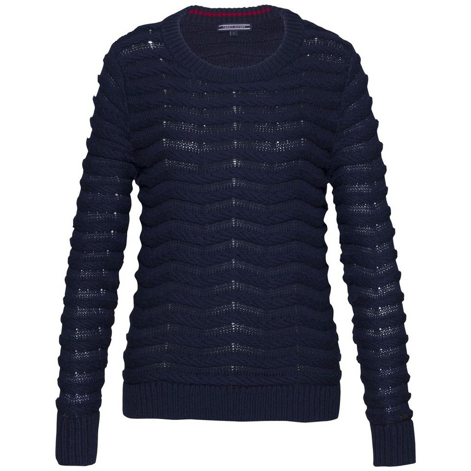 Tommy Hilfiger Pullover »BEDELIA CROP ROPE SWTR« in NAVY BLAZER
