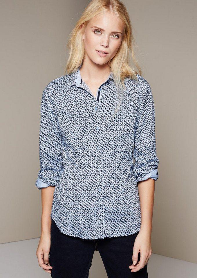 COMMA Klassische Hemdbluse mit schönem Minimalmuster in dusty blue AOP