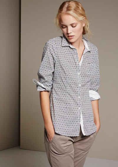 COMMA Klassische Hemdbluse mit schönem Minimalmuster Sale Angebote