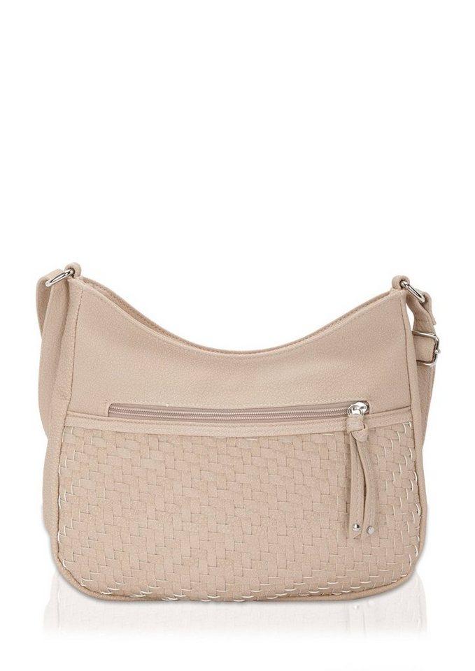 s.Oliver Shoulder Bag mit Web-Detail in light beige