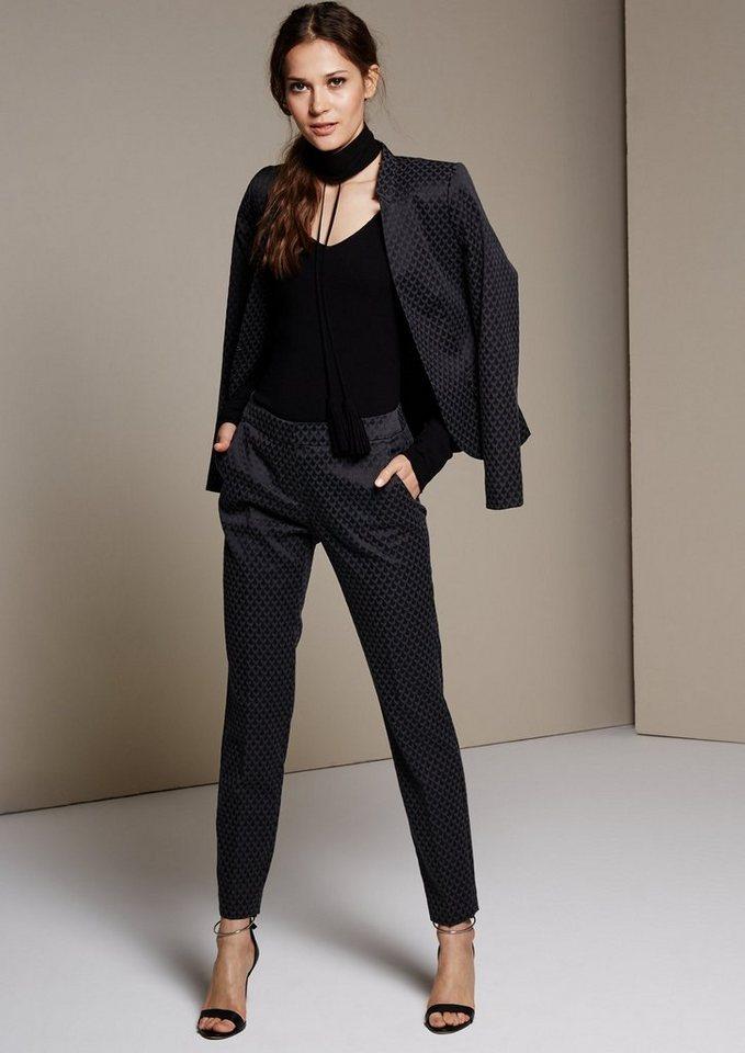 COMMA Feminine Businesspants mit aufregendem Jacquardmuster in black AOP