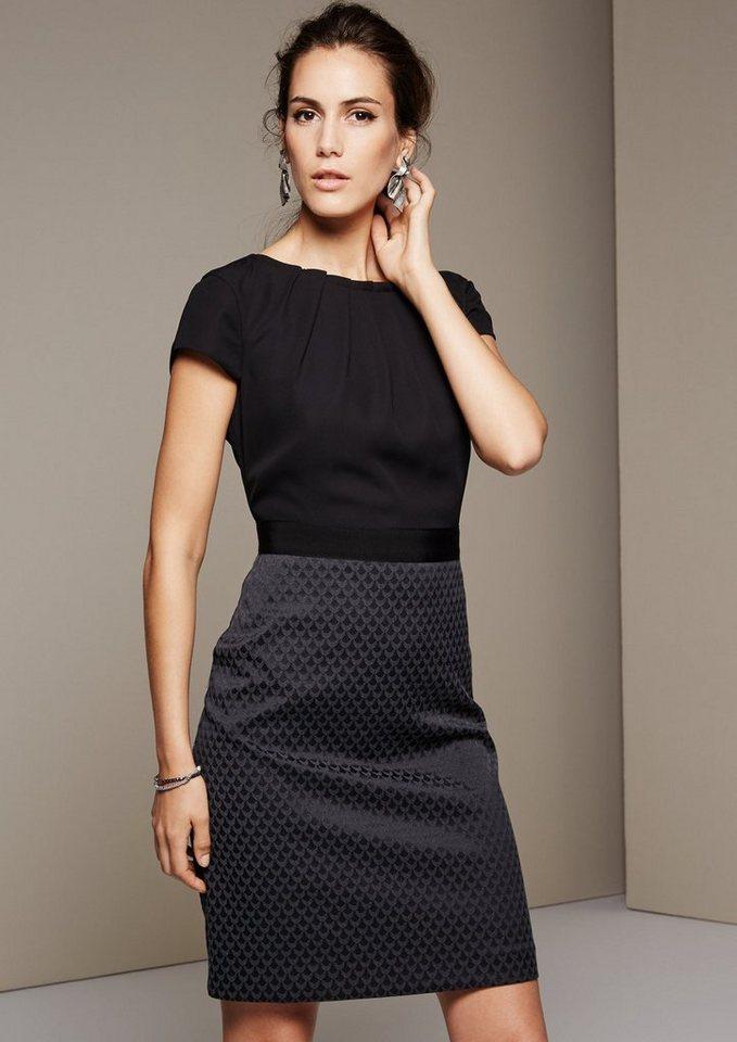 COMMA Feines Abendkleid mit Jacquardmuster in black AOP