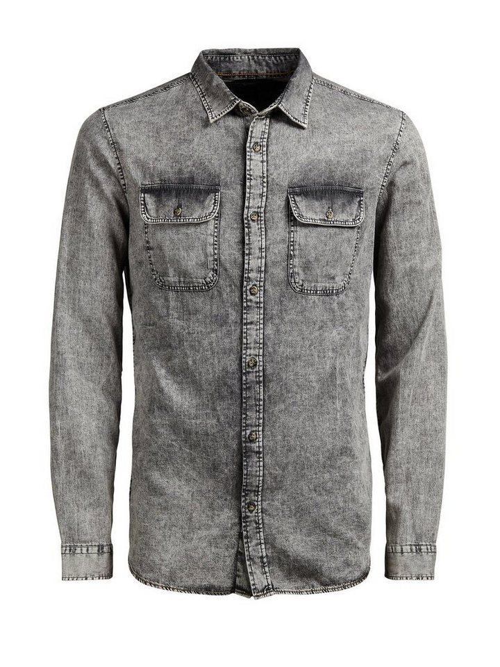 Jack & Jones Gewaschenes Jeans- Langarmhemd in Black Denim