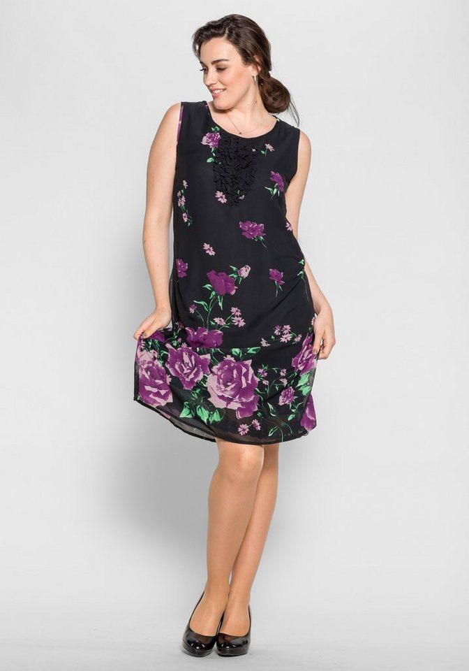 sheego Style Figurbetonendes Kleid in dunkellila-schwarz