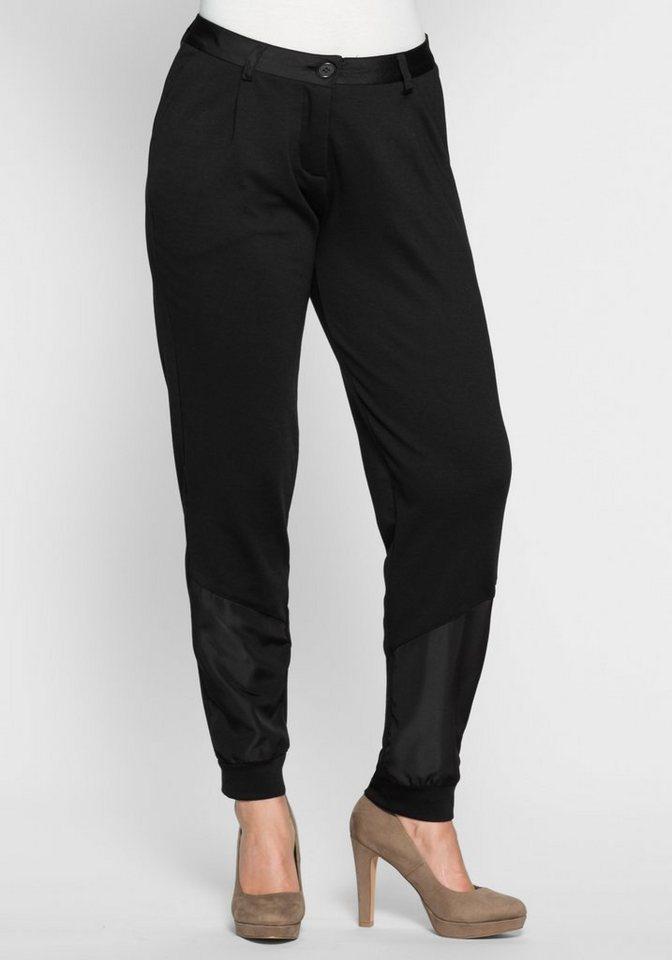 sheego Style Pumphose mit Satin-Einsatz in schwarz