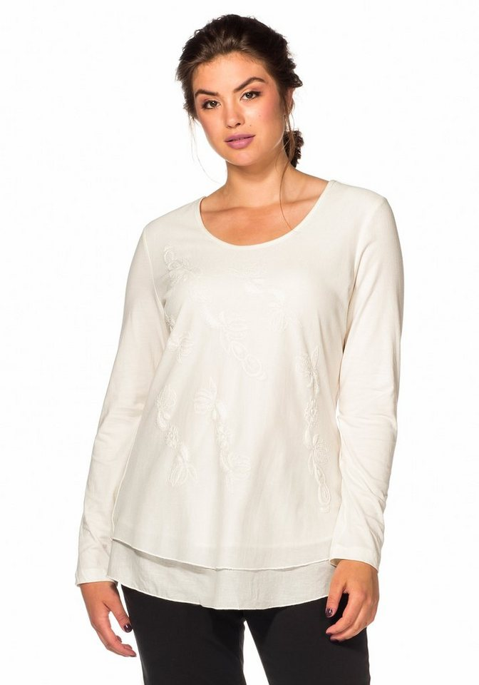 sheego Style Langarmshirt mit Stickerei in offwhite