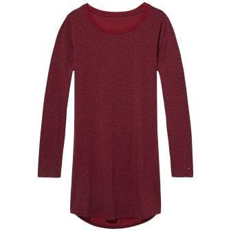 Tommy Hilfiger Nachthemd »Cotton cn dress ls iconic print« in RHUBARB-PT