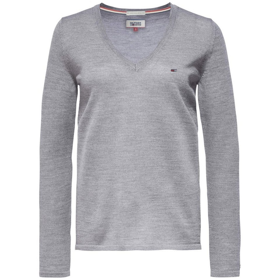Hilfiger Denim Pullover »THDW BASIC DEEP VN SWEATER L/S 37« in Mid grey htr sweater