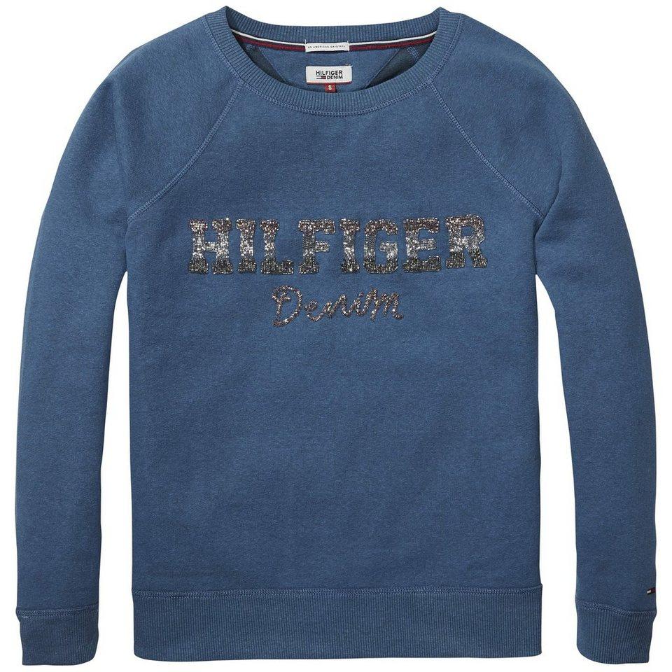 Hilfiger Denim Sweatshirt »THDW CN HKNIT L/S 27« in Majolica Blue