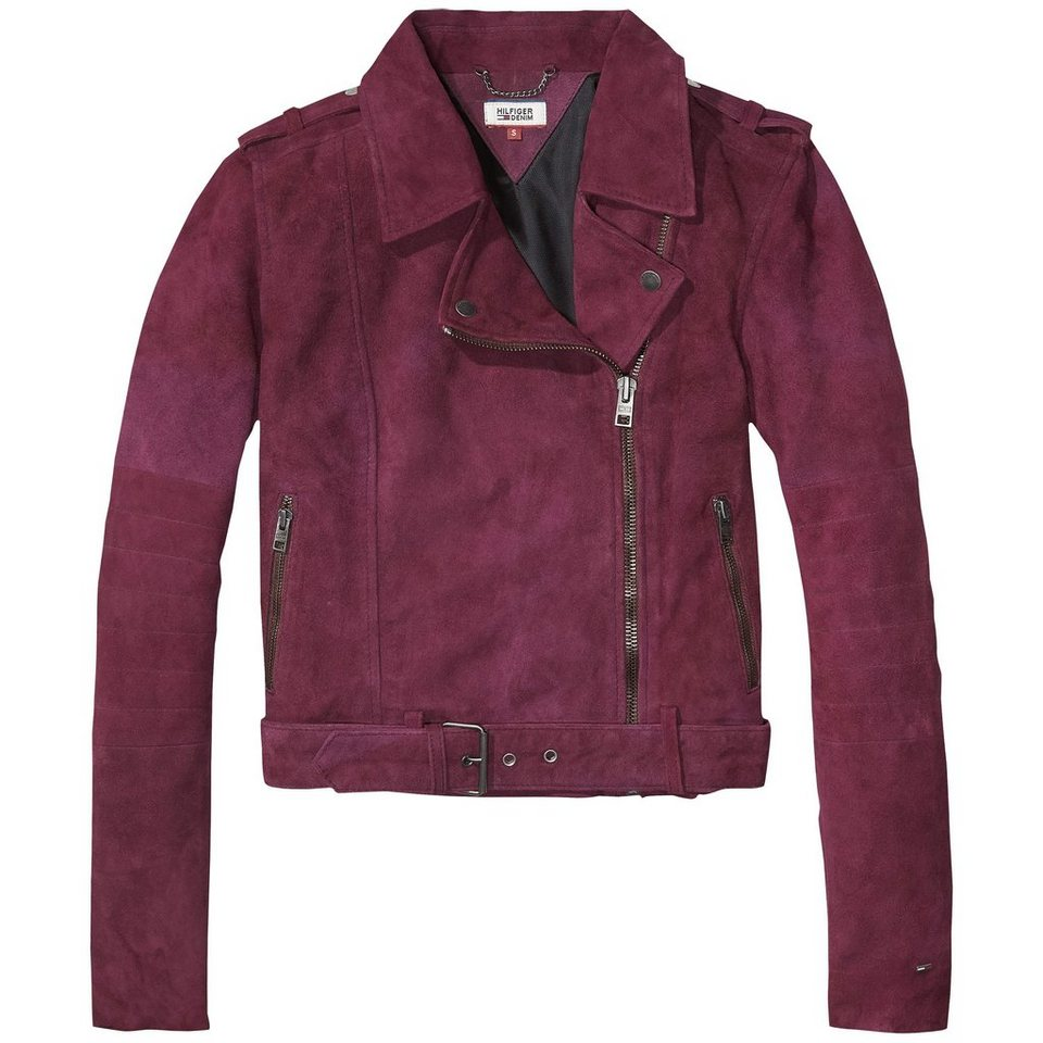 Hilfiger Denim Lederjacke »THDW SUEDE BIKER 44« in Grape Wine
