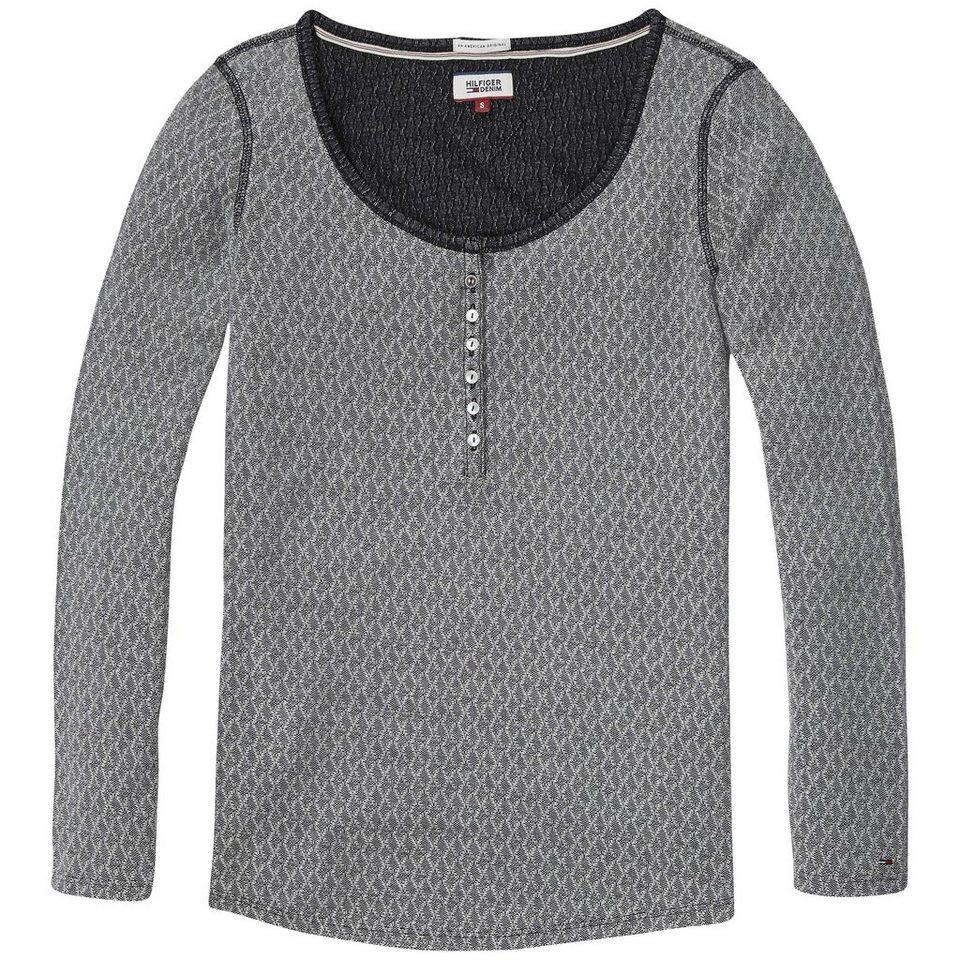 Hilfiger Denim Sweatshirt »THDW HENLEY LT KNIT L/S 17« in TOMMY BLACK / EGRET