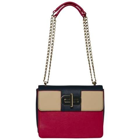Tommy Hilfiger Handtasche »TURN LOCK CROSSOVER COLOURBLOCK« in RED/Midnight/Oatmeal