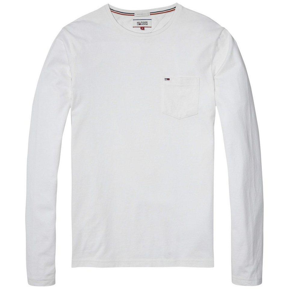 Hilfiger Denim T-Shirt (langarm) »THDM BASIC CN KNIT L/S 4« in WHITE