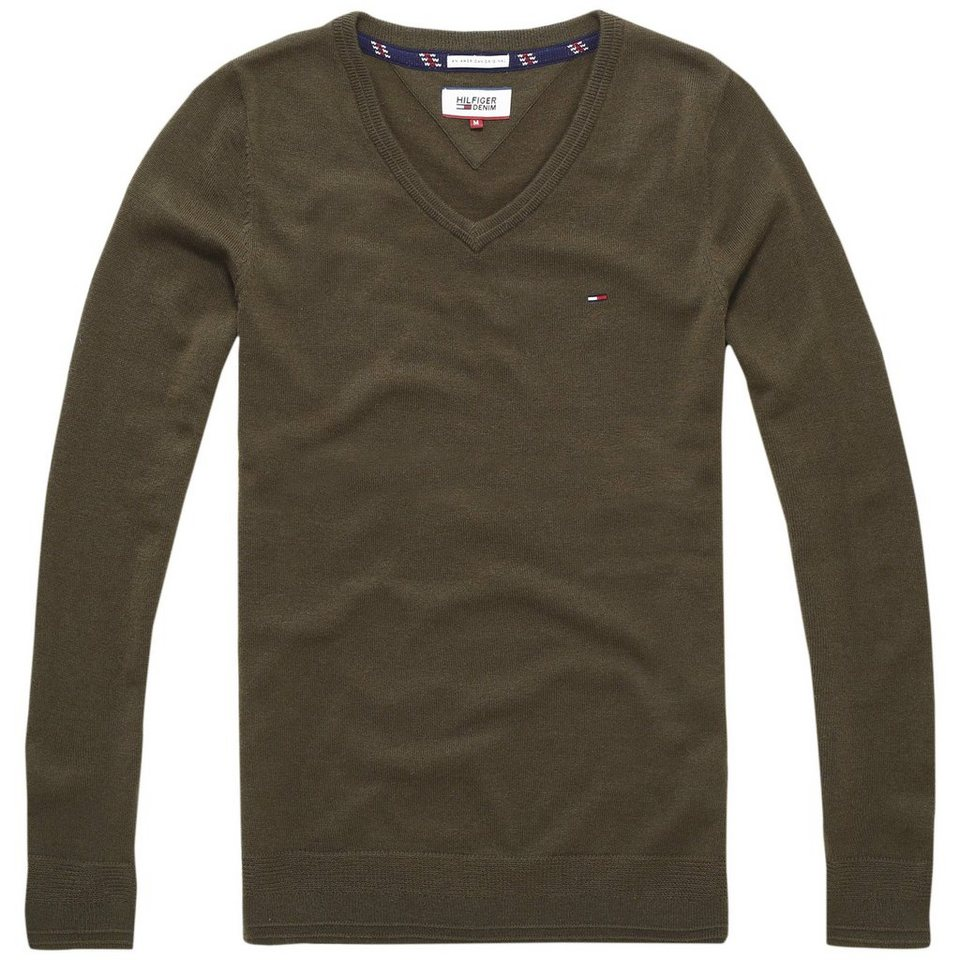 Hilfiger Denim Pullover »THDM BASIC VN SWEATER L/S 9« in Olive Night